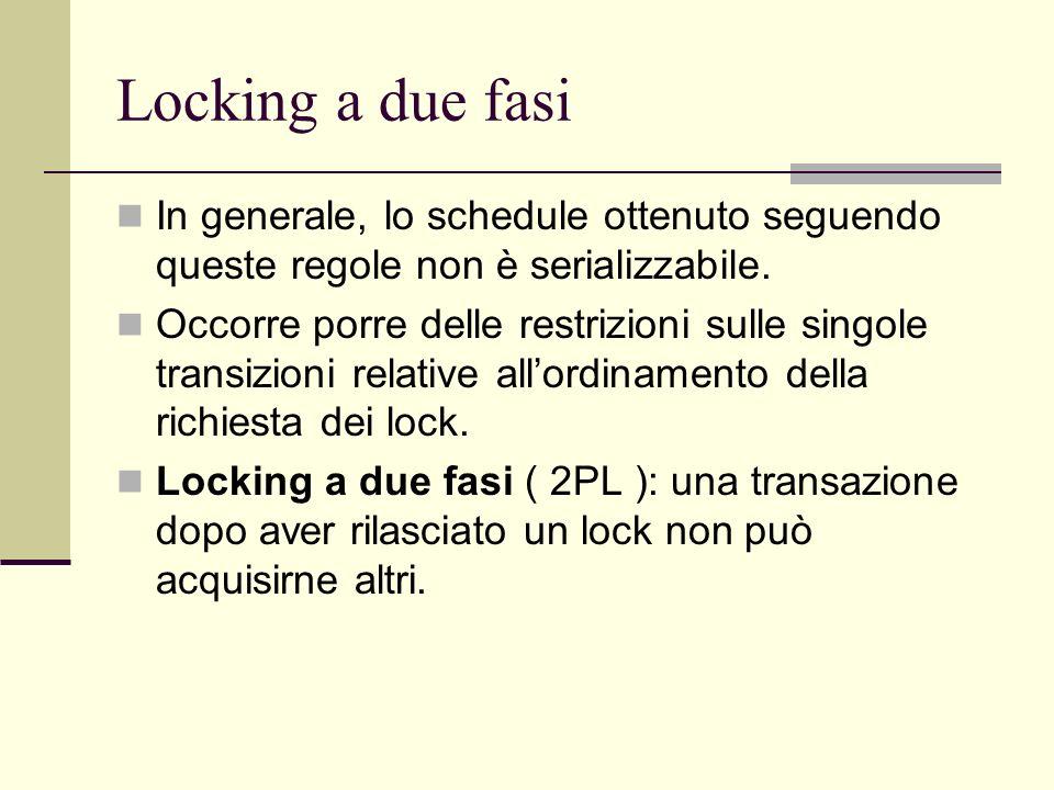 Locking a due fasiIn generale, lo schedule ottenuto seguendo queste regole non è serializzabile.
