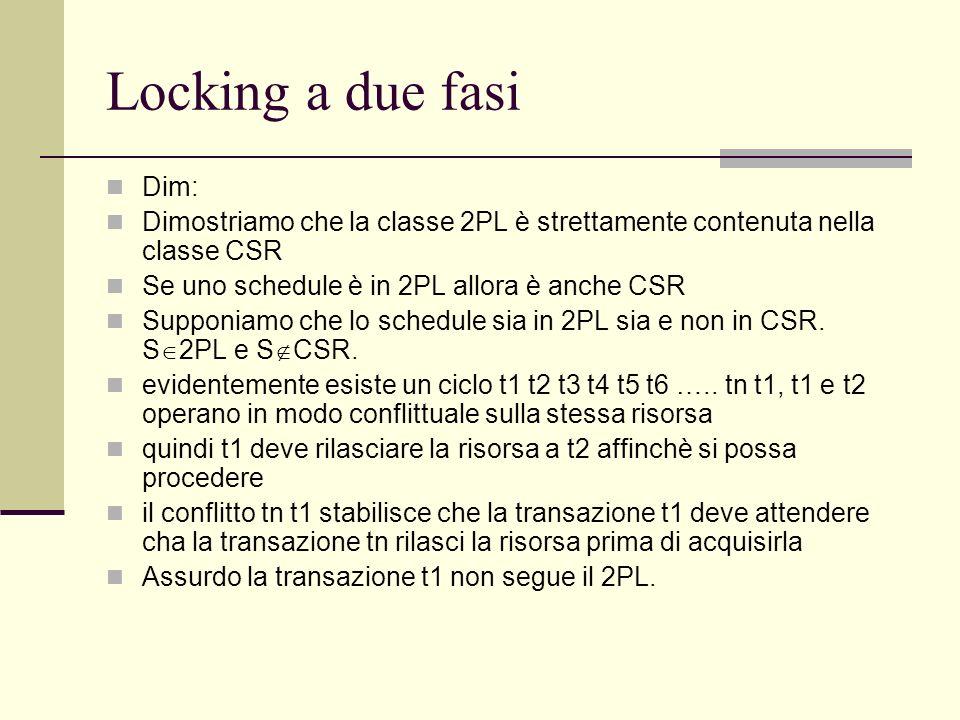 Locking a due fasiDim: Dimostriamo che la classe 2PL è strettamente contenuta nella classe CSR. Se uno schedule è in 2PL allora è anche CSR.