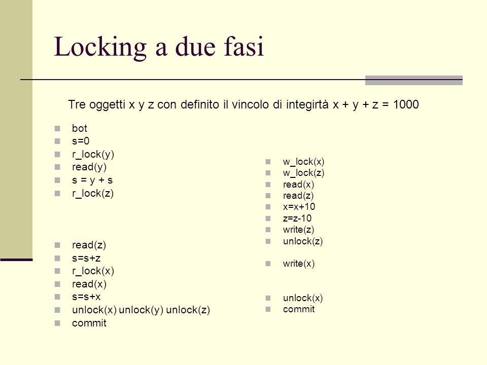 Locking a due fasiTre oggetti x y z con definito il vincolo di integirtà x + y + z = 1000. bot. s=0.