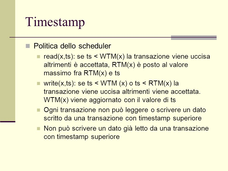 Timestamp Politica dello scheduler