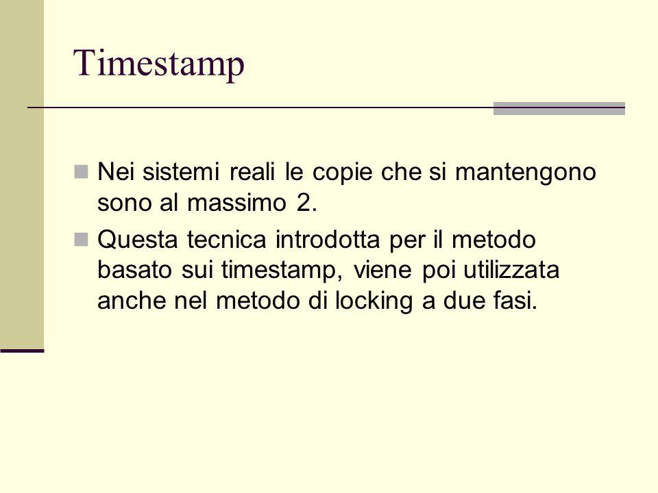 TimestampNei sistemi reali le copie che si mantengono sono al massimo 2.