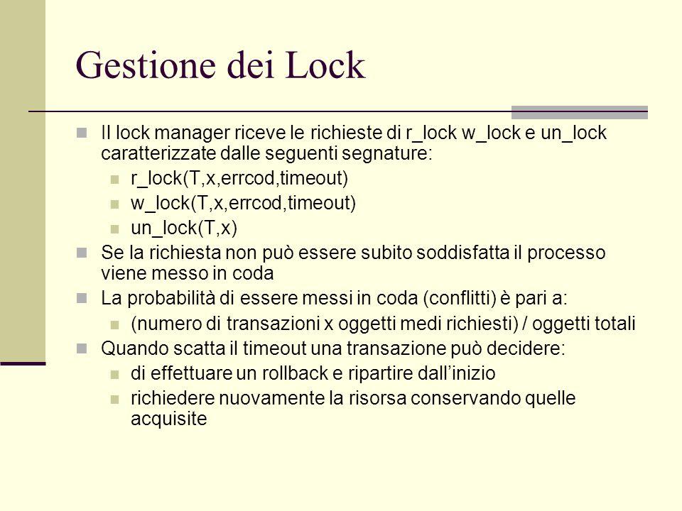 Gestione dei LockIl lock manager riceve le richieste di r_lock w_lock e un_lock caratterizzate dalle seguenti segnature: