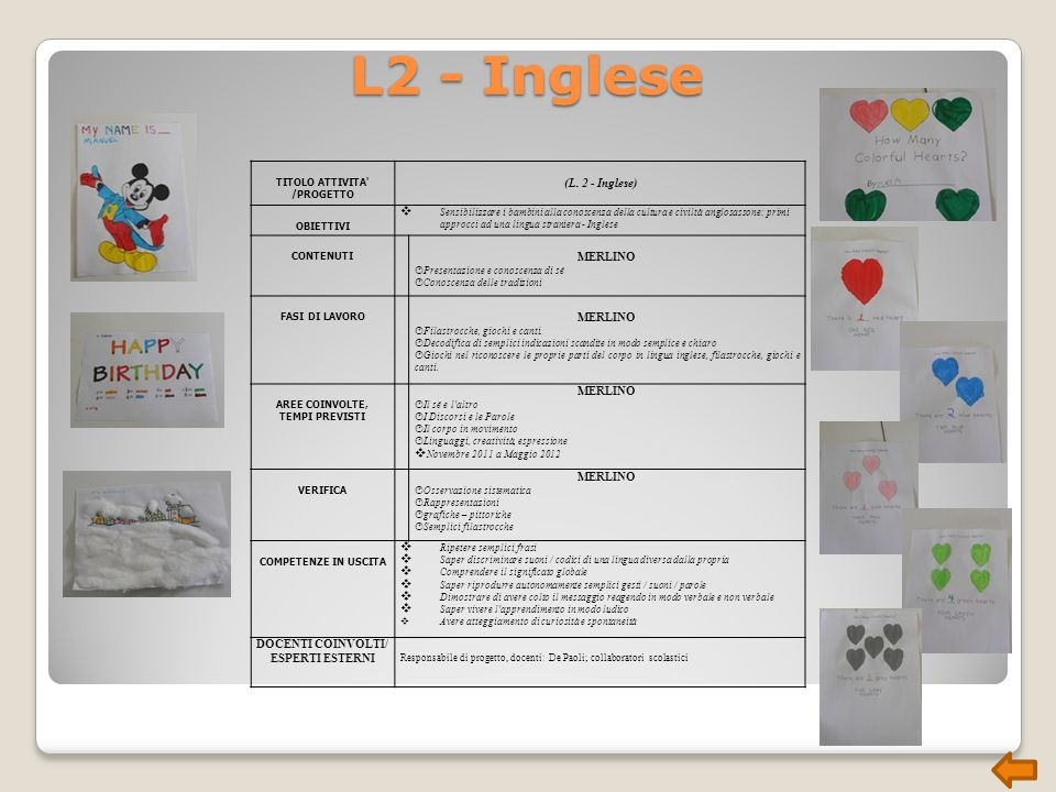 L2 - Inglese (L. 2 - Inglese) MERLINO DOCENTI COINVOLTI/