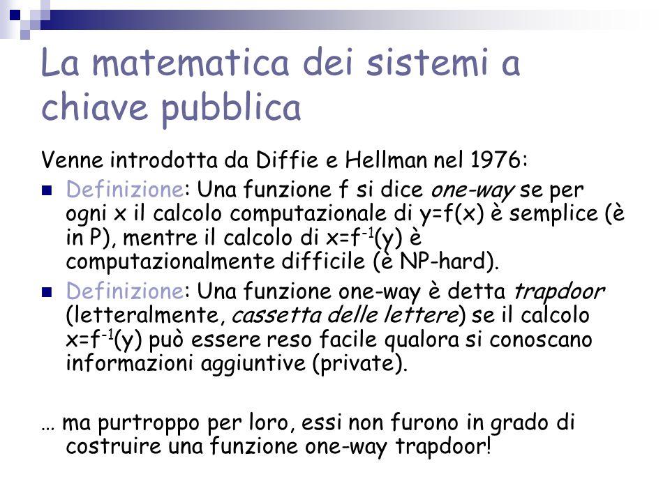 La matematica dei sistemi a chiave pubblica