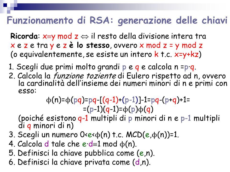 Funzionamento di RSA: generazione delle chiavi