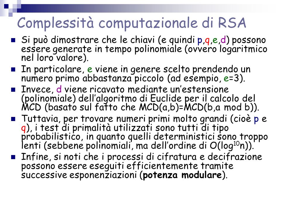 Complessità computazionale di RSA