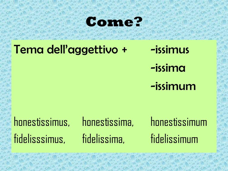 Come Tema dell'aggettivo + -issimus -issima -issimum