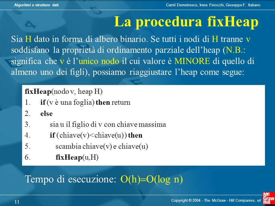 La procedura fixHeap Tempo di esecuzione: O(h)=O(log n)