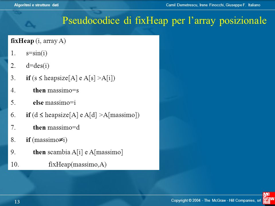 Pseudocodice di fixHeap per l'array posizionale