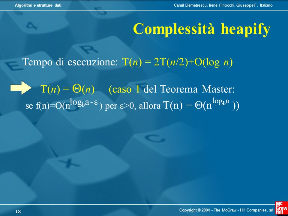 Complessità heapify se f(n)=O(n ) per >0, allora T(n) = Q(n ))