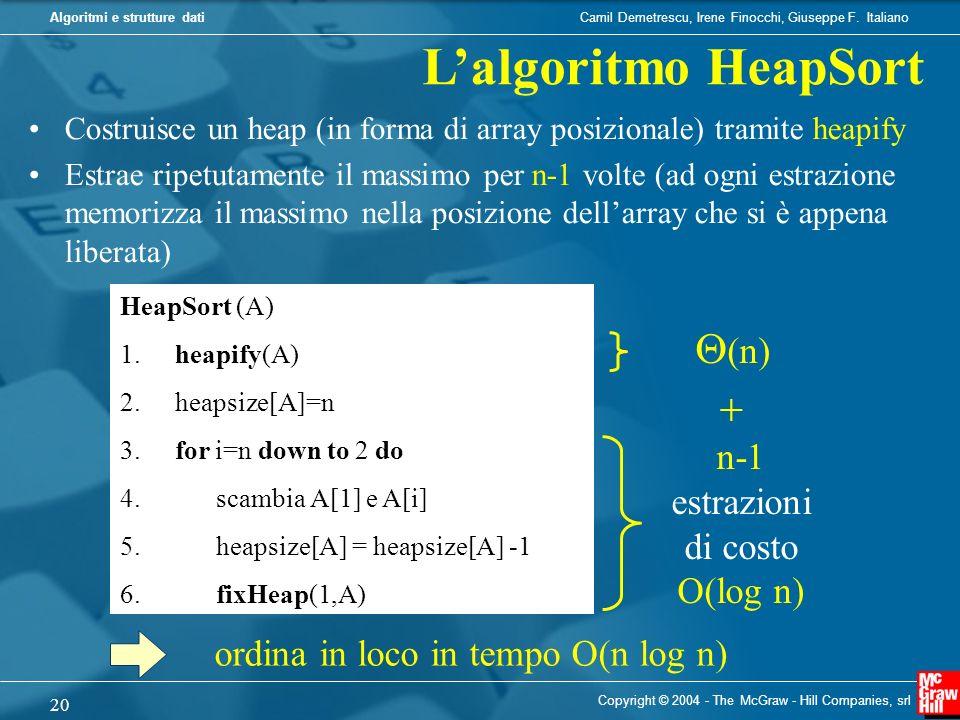 L'algoritmo HeapSort Q(n) + n-1 estrazioni di costo O(log n)