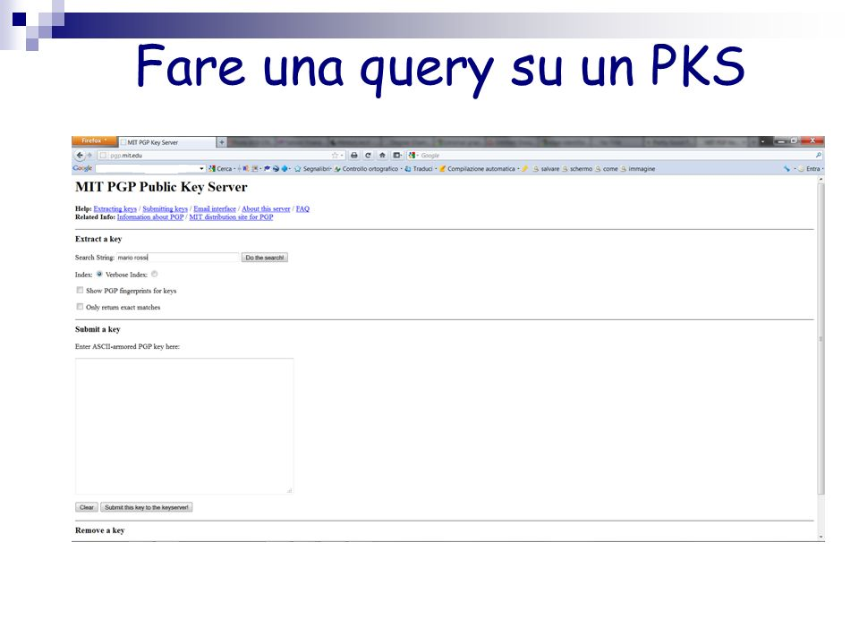 Fare una query su un PKS