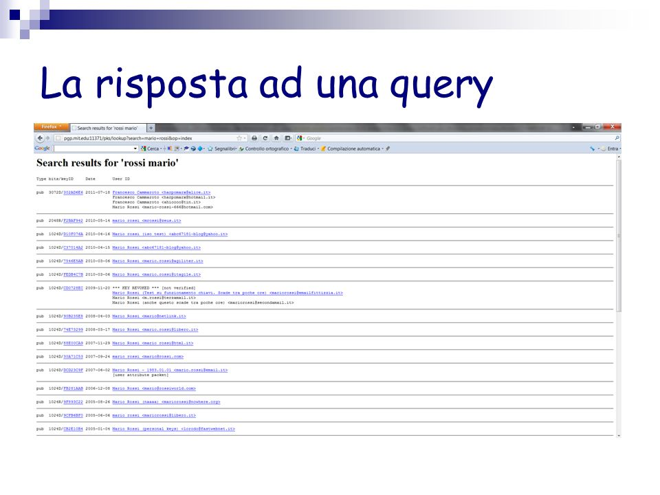 La risposta ad una query