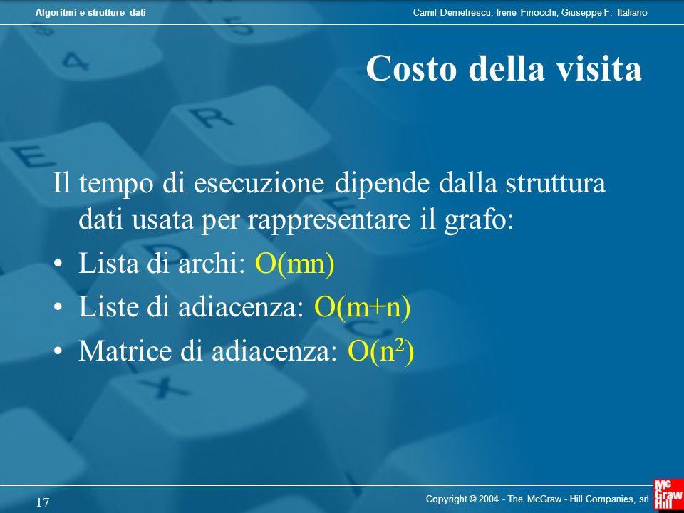 Costo della visita Il tempo di esecuzione dipende dalla struttura dati usata per rappresentare il grafo: