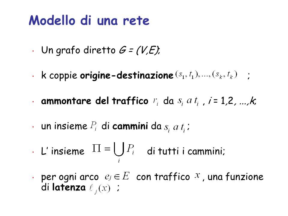 Modello di una rete Un grafo diretto G = (V,E);
