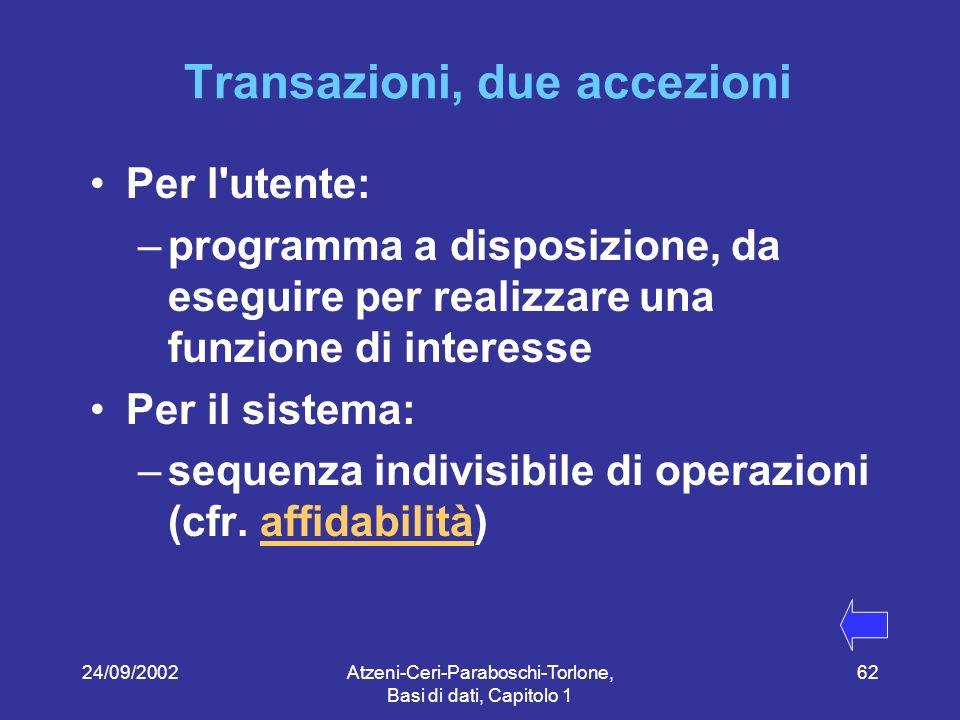 Transazioni, due accezioni