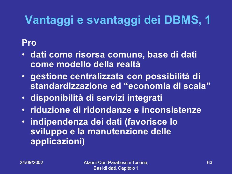 Vantaggi e svantaggi dei DBMS, 1