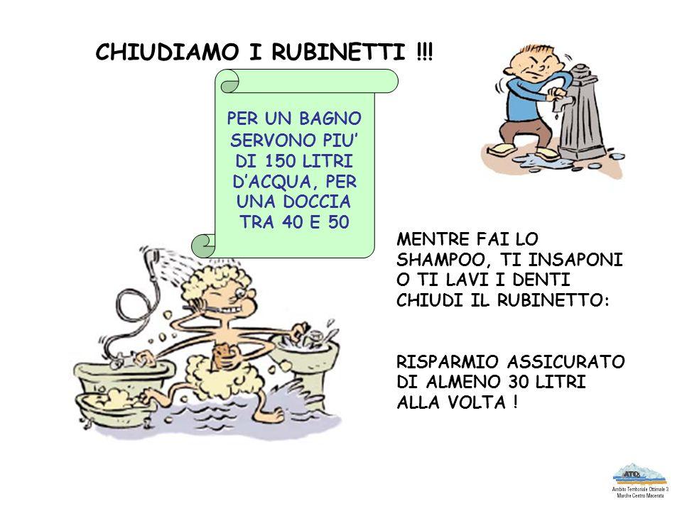 CHIUDIAMO I RUBINETTI !!! PER UN BAGNO SERVONO PIU' DI 150 LITRI