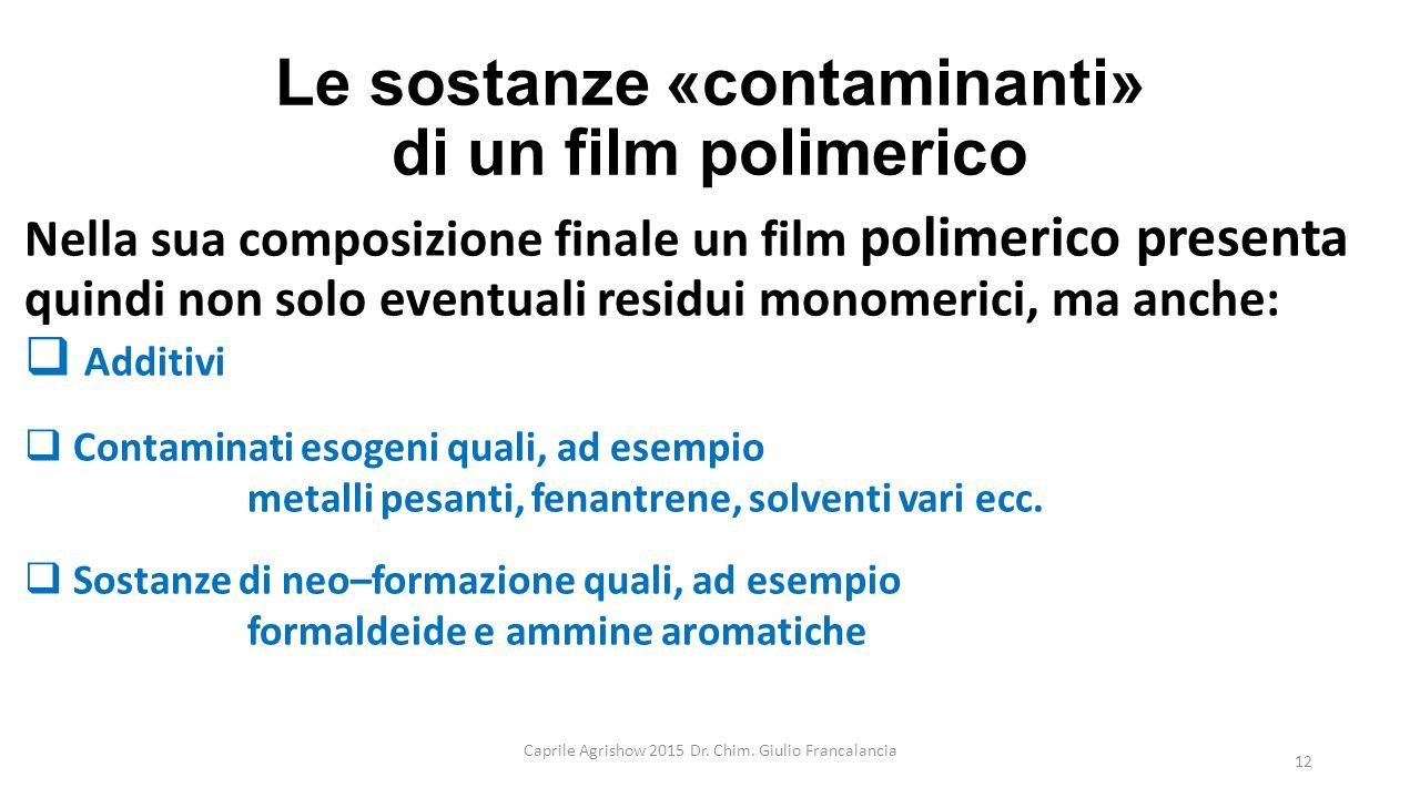 Le sostanze «contaminanti» di un film polimerico