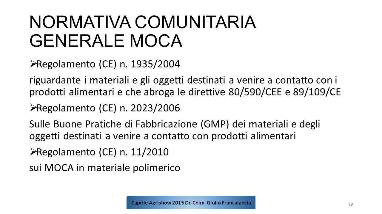 NORMATIVA COMUNITARIA GENERALE MOCA