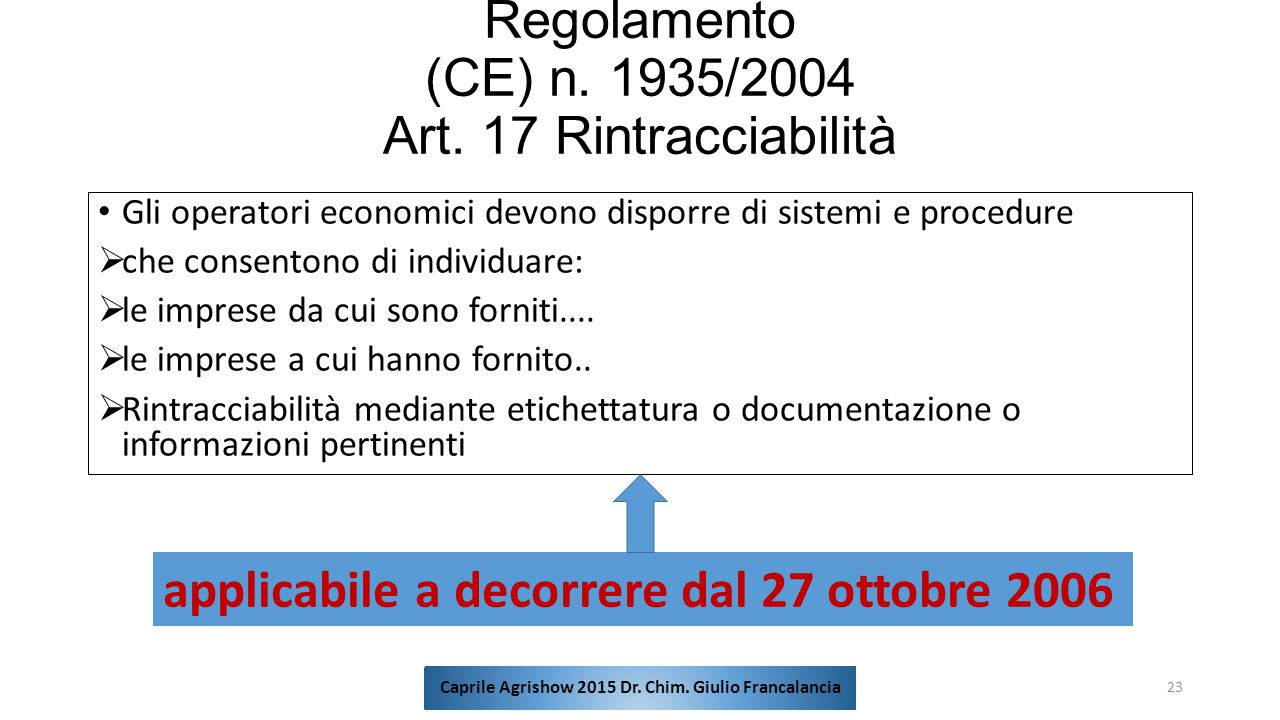 Regolamento (CE) n. 1935/2004 Art. 17 Rintracciabilità