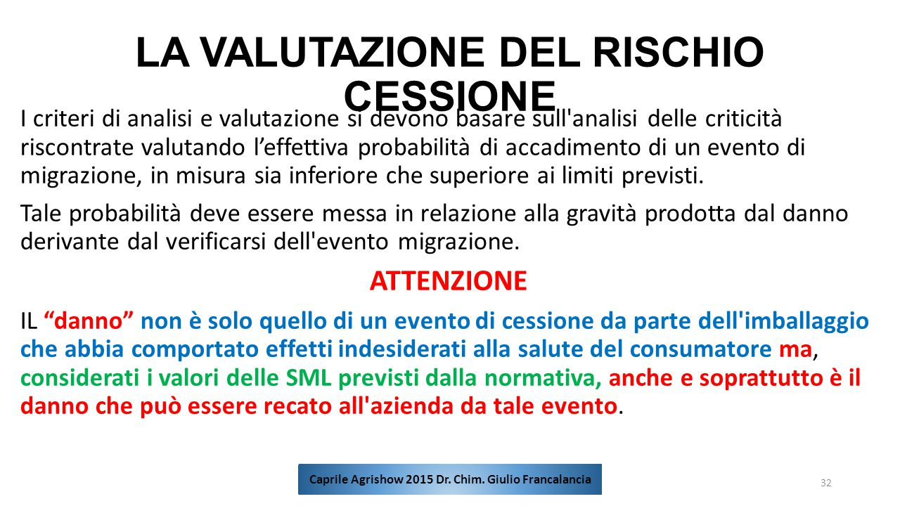 LA VALUTAZIONE DEL RISCHIO CESSIONE