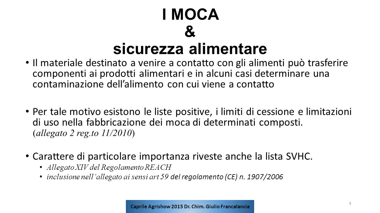 I MOCA & sicurezza alimentare