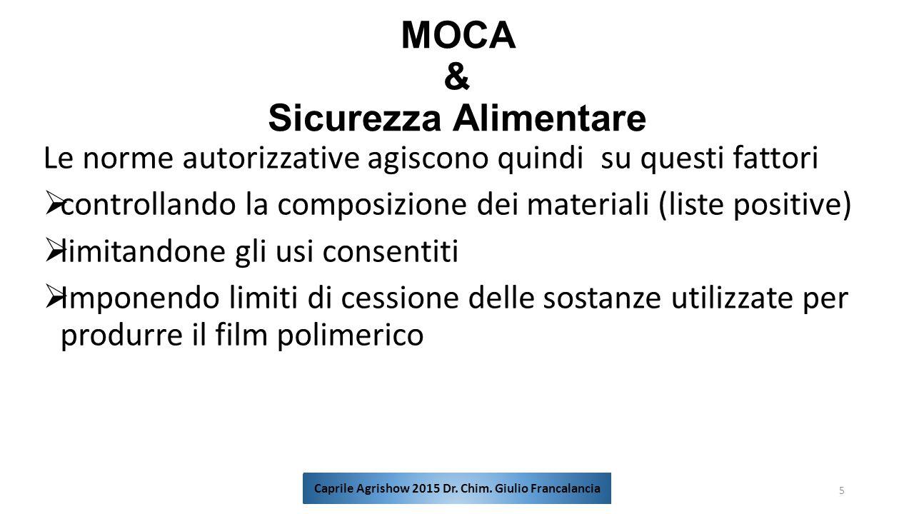 MOCA & Sicurezza Alimentare