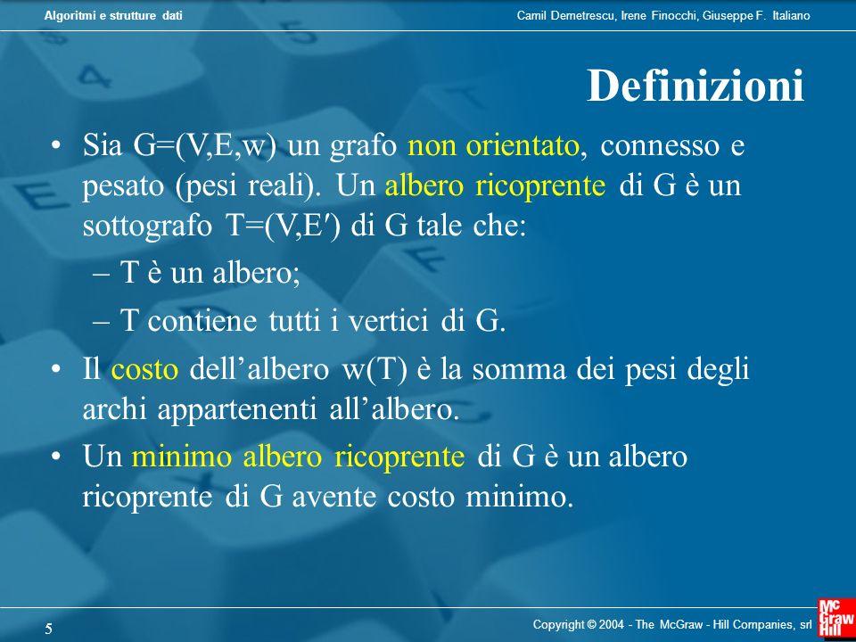 DefinizioniSia G=(V,E,w) un grafo non orientato, connesso e pesato (pesi reali). Un albero ricoprente di G è un sottografo T=(V,E′) di G tale che: