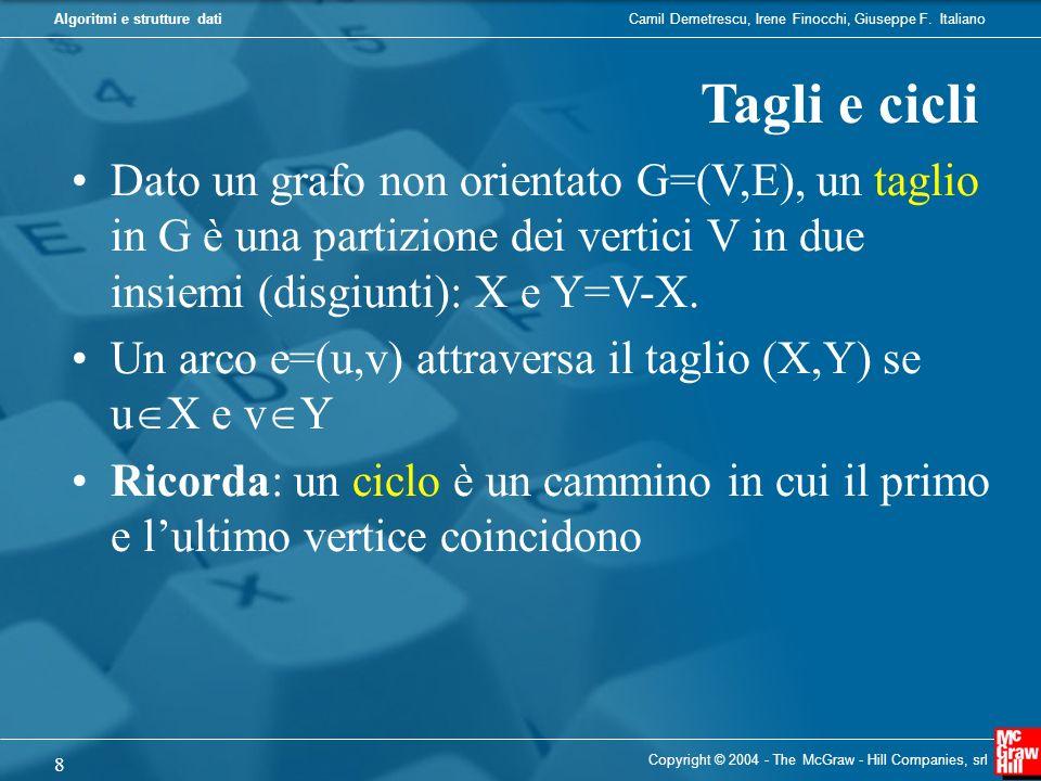 Tagli e cicli Dato un grafo non orientato G=(V,E), un taglio in G è una partizione dei vertici V in due insiemi (disgiunti): X e Y=V-X.