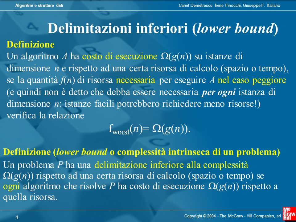 Delimitazioni inferiori (lower bound)