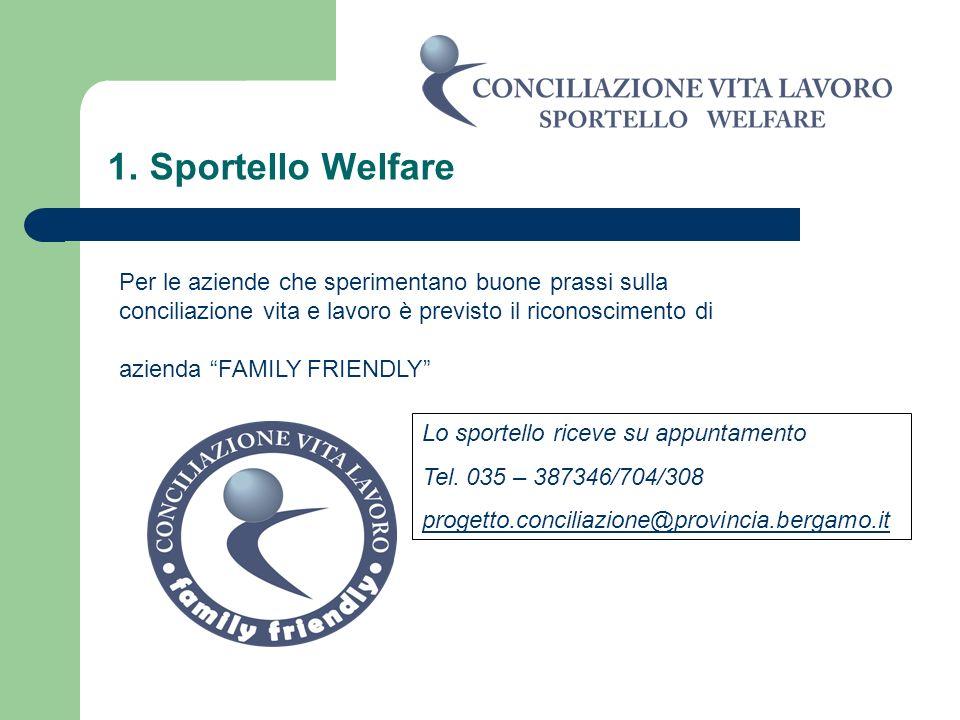 1. Sportello WelfarePer le aziende che sperimentano buone prassi sulla conciliazione vita e lavoro è previsto il riconoscimento di.