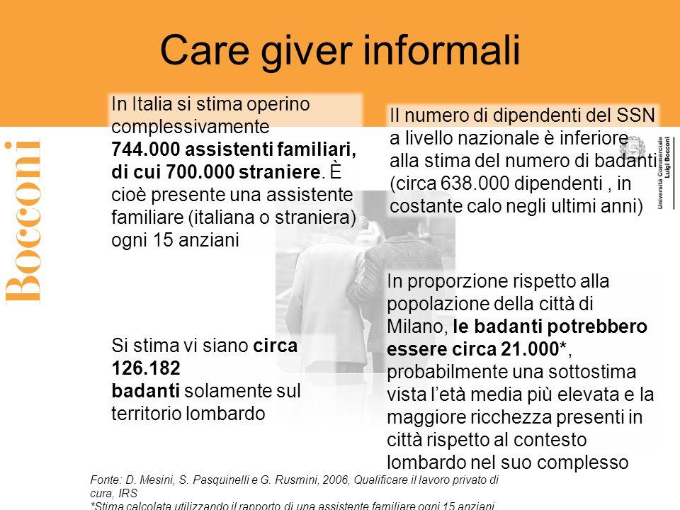 Care giver informali In Italia si stima operino complessivamente