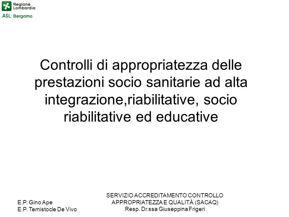 Controlli di appropriatezza delle prestazioni socio sanitarie ad alta integrazione,riabilitative, socio riabilitative ed educative