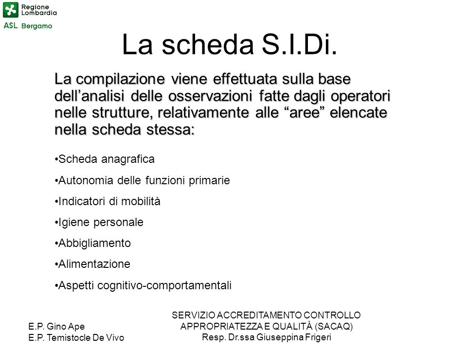 La scheda S.I.Di.