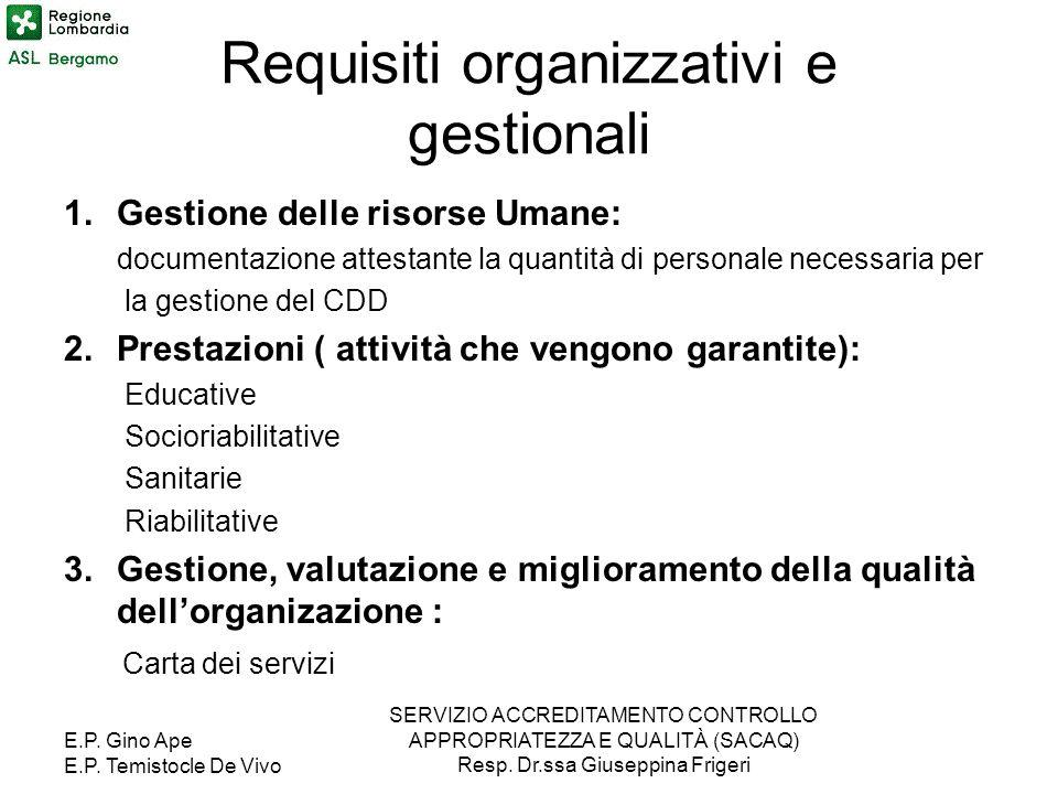 Requisiti organizzativi e gestionali