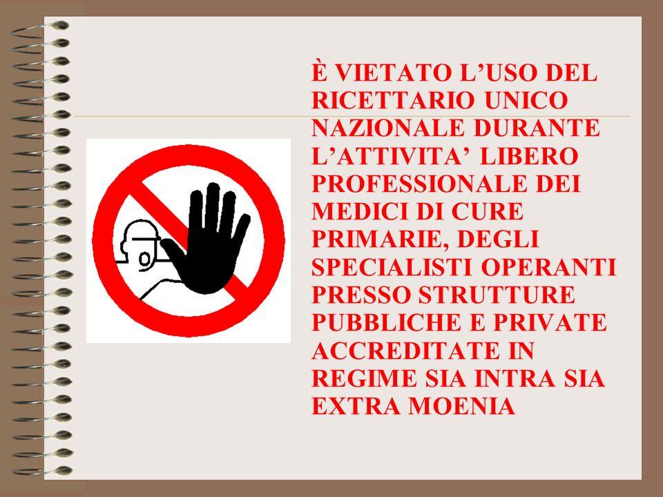 È VIETATO L'USO DEL RICETTARIO UNICO NAZIONALE DURANTE L'ATTIVITA' LIBERO PROFESSIONALE DEI MEDICI DI CURE PRIMARIE, DEGLI SPECIALISTI OPERANTI PRESSO STRUTTURE PUBBLICHE E PRIVATE ACCREDITATE IN REGIME SIA INTRA SIA EXTRA MOENIA