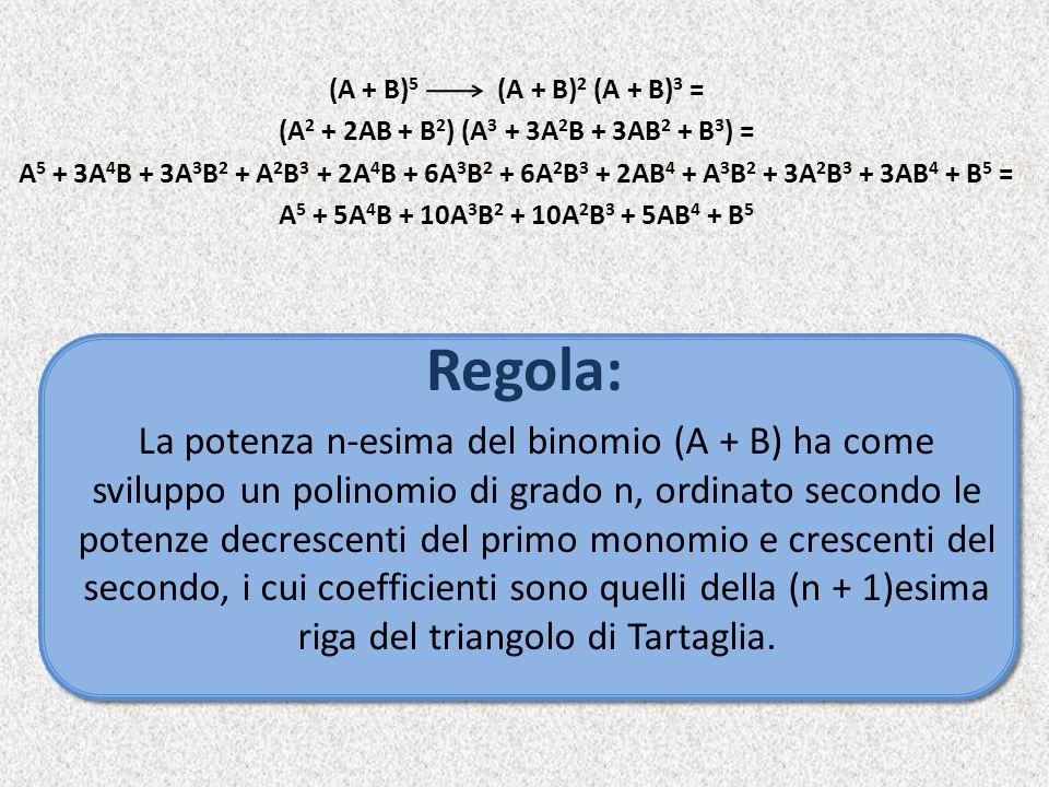 (A + B)5 (A + B)2 (A + B)3 = (A2 + 2AB + B2) (A3 + 3A2B + 3AB2 + B3) = A5 + 3A4B + 3A3B2 + A2B3 + 2A4B + 6A3B2 + 6A2B3 + 2AB4 + A3B2 + 3A2B3 + 3AB4 + B5 = A5 + 5A4B + 10A3B2 + 10A2B3 + 5AB4 + B5