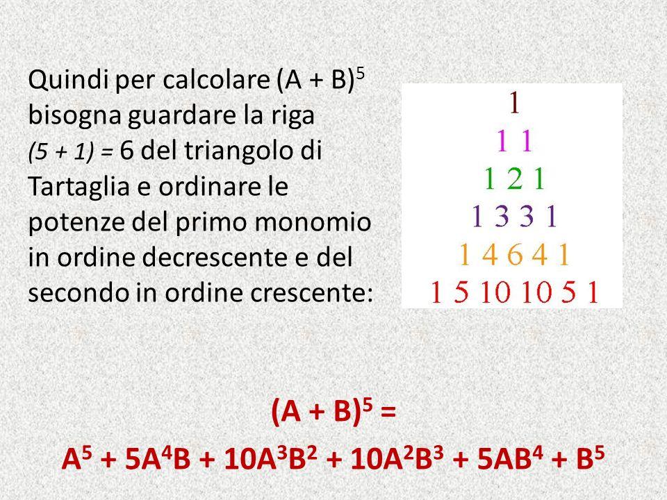 (A + B)5 = A5 + 5A4B + 10A3B2 + 10A2B3 + 5AB4 + B5