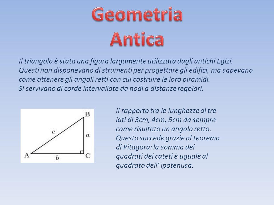 Geometria Antica Il triangolo è stata una figura largamente utilizzata dagli antichi Egizi.