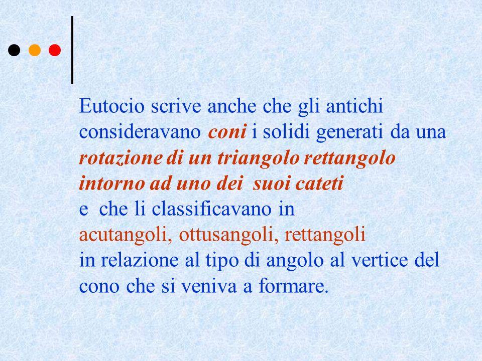 Eutocio scrive anche che gli antichi consideravano coni i solidi generati da una