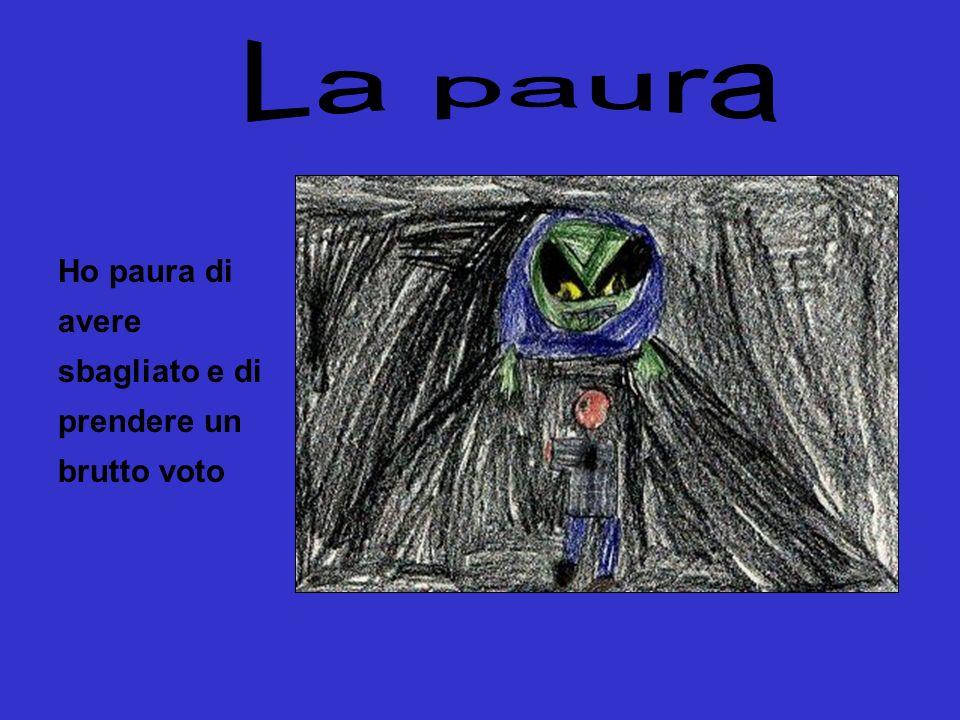 La paura Ho paura di avere sbagliato e di prendere un brutto voto