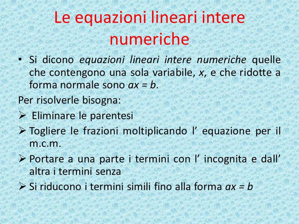 Le equazioni lineari intere numeriche