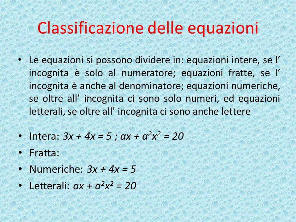 Classificazione delle equazioni