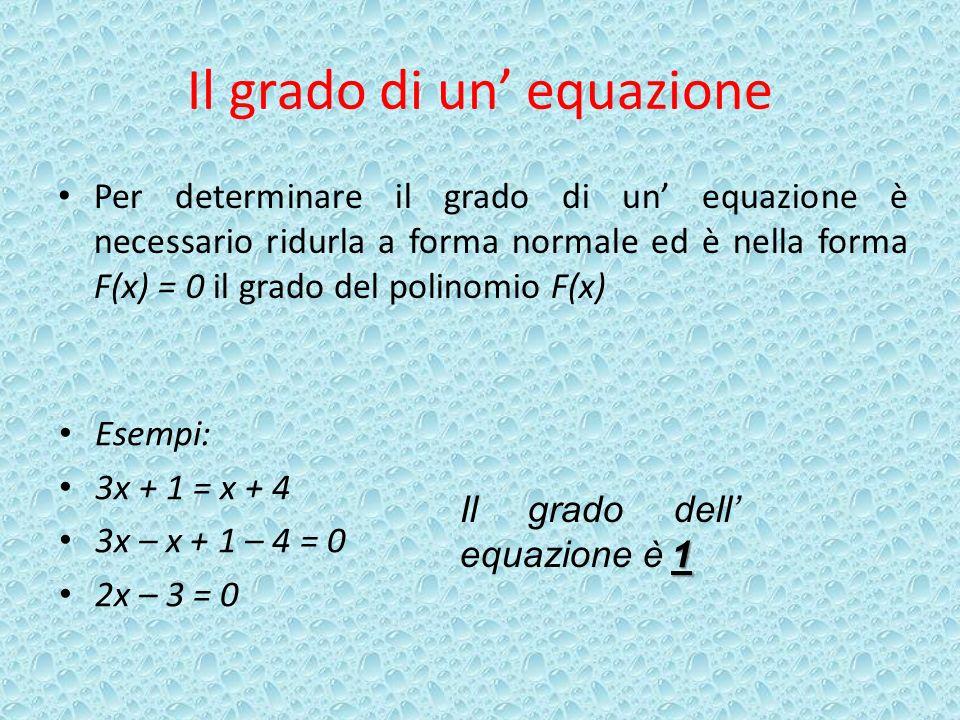 Il grado di un' equazione