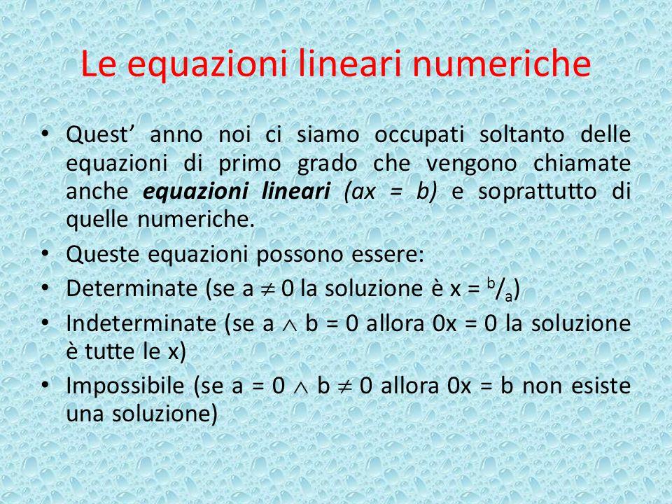 Le equazioni lineari numeriche