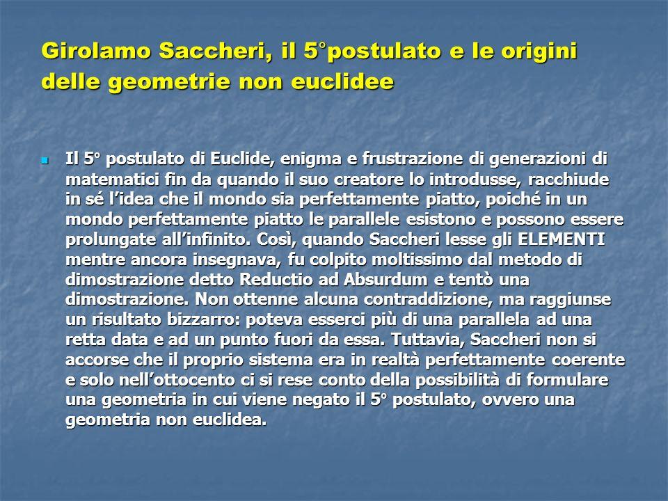 Girolamo Saccheri, il 5°postulato e le origini delle geometrie non euclidee