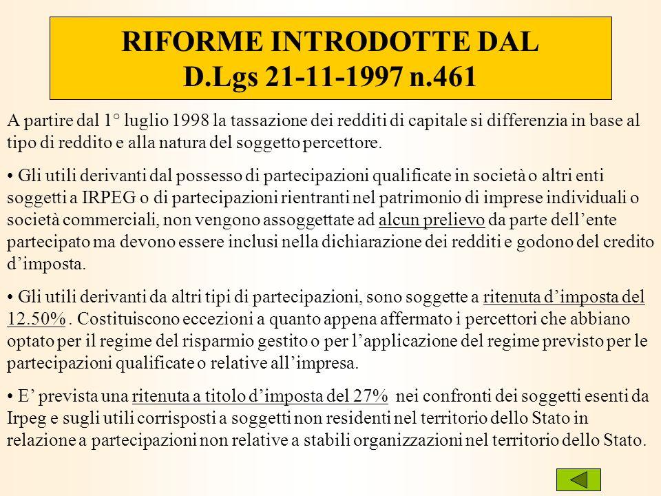 RIFORME INTRODOTTE DAL D.Lgs 21-11-1997 n.461