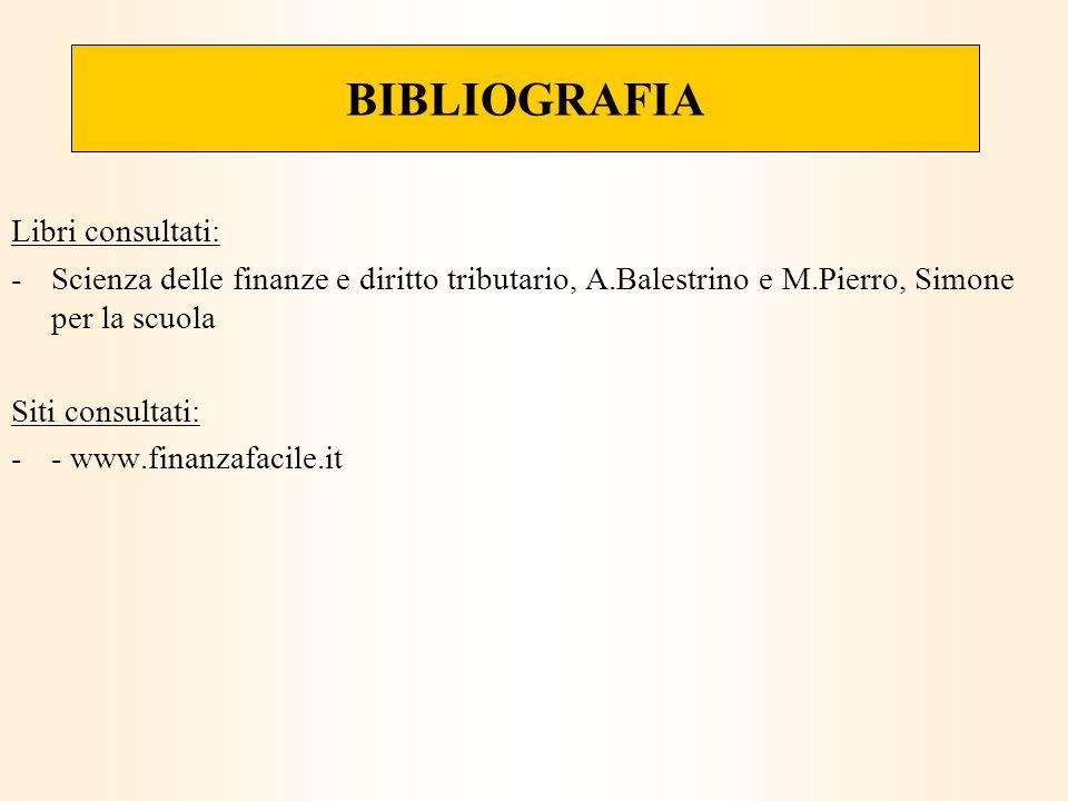 BIBLIOGRAFIA Libri consultati: