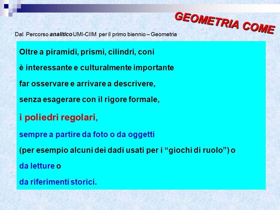 GEOMETRIA COME GEOMETRIA COME i poliedri regolari,